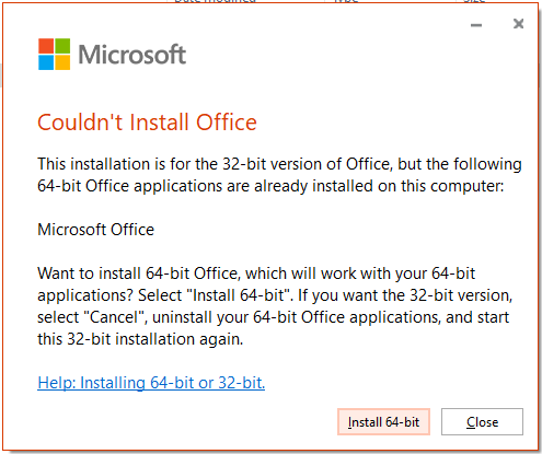 couldn't install office