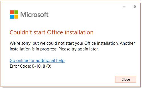 couldn't start office installation error code 0-1018