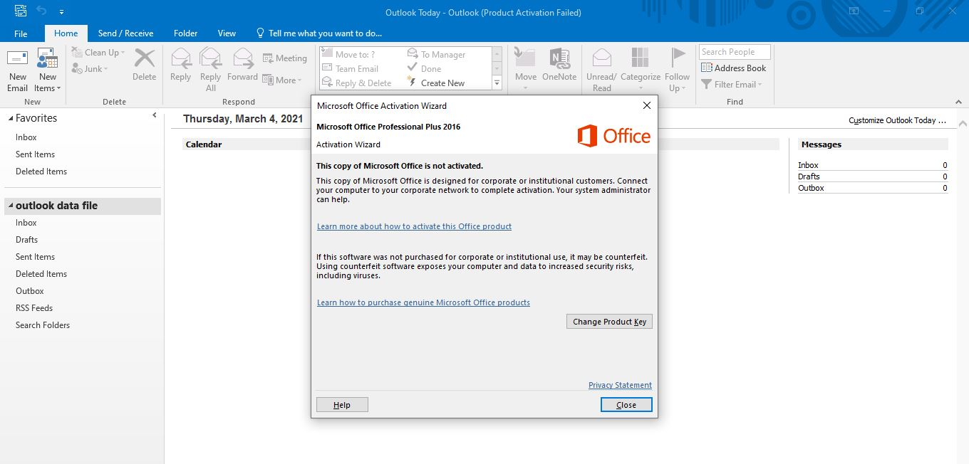 Outlook Unlicensed Product Issue