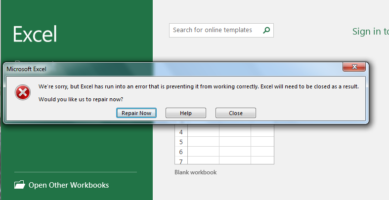 error message of We're sorry, but Excel has run into an error that is preventing it from working correctly
